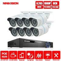 NINIVISION 8CH 5MP 1080 P HDMI POE NVR Kit de sistema de seguridad CCTV 2MP IR al aire libre registro de Audio cámara IP P2P video de Vigilancia Conjunto|Sistema de vigilancia| |  -