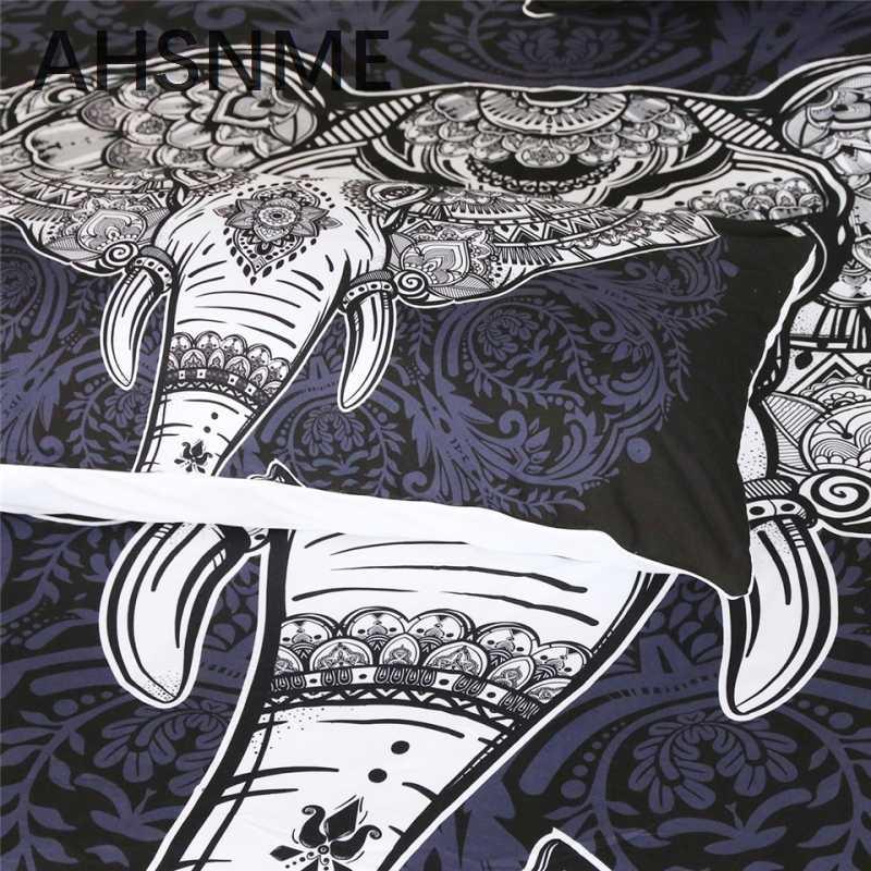 AHSNME Nuovo di lusso Della Boemia di Disegno Elefante Modelli 3 pz Set di Biancheria Da Letto in Bianco e Nero Copripiumino King Classic Queen Doppia Con Letti Singoli formato