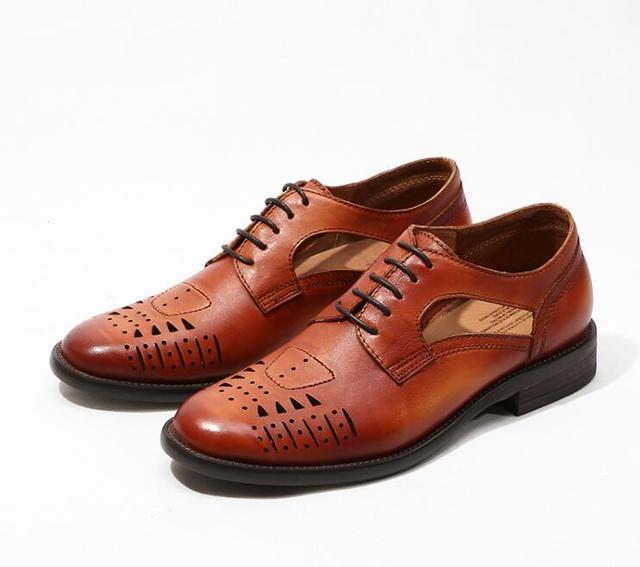 55313d919 Brogue Shoes Men Genuine Leather Carved Dress Sheos Smart Casual Sandals  Gladiator Cut Outs Breathable Summer