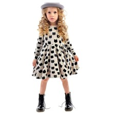 Children Little Girl Dress Long Sleeve Cartoon Kitten Black Cat Dotted Kid School Dress Spring/Autumn Comfort Cotton Casual Wear