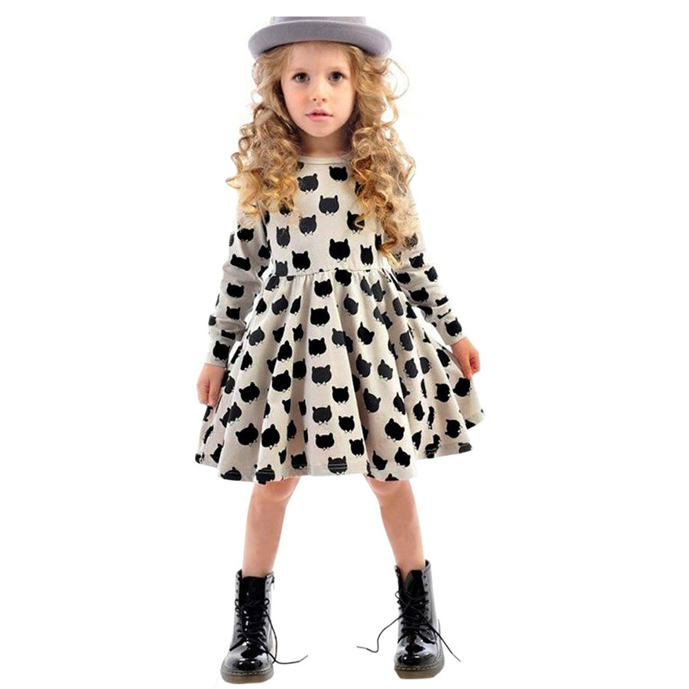 Black dress cartoon - Children Little Girl Dress Long Sleeve Cartoon Kitten Black Cat Dotted Kid School Dress Spring