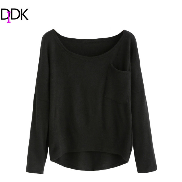 DIDK Womens Sweaters For Autumn Ladies Plain Black Round Neck Long ...