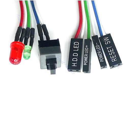 цены 10pcs/lot PC Desktop computer chassis switch reset button hard disk status LED Power LED cable 65cm