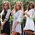 2016 nuevo estilo de ucrania para mujer otoño de encaje patchwork t shirt dress media manga negro y blanco de la vendimia vestidos flojos ocasionales más tamaño