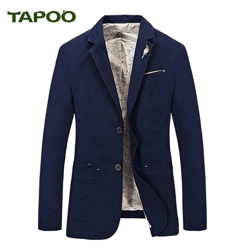 Tapoo мужской костюм Блейзер Британский's Стиль Повседневное Slim Fit пиджак мужской пиджаки Для мужчин пальто Повседневное одноцветное Цвет Terno ...