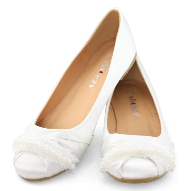 9fd72d02919 SHOEZY white women flat wedding shoes woman satin silk crystal bridal  birdesmaid prom comfort shoes ladies white flats