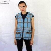 Linhaoshengyue 2017NEW Hot selling Real sheep fur women vest freeshipping