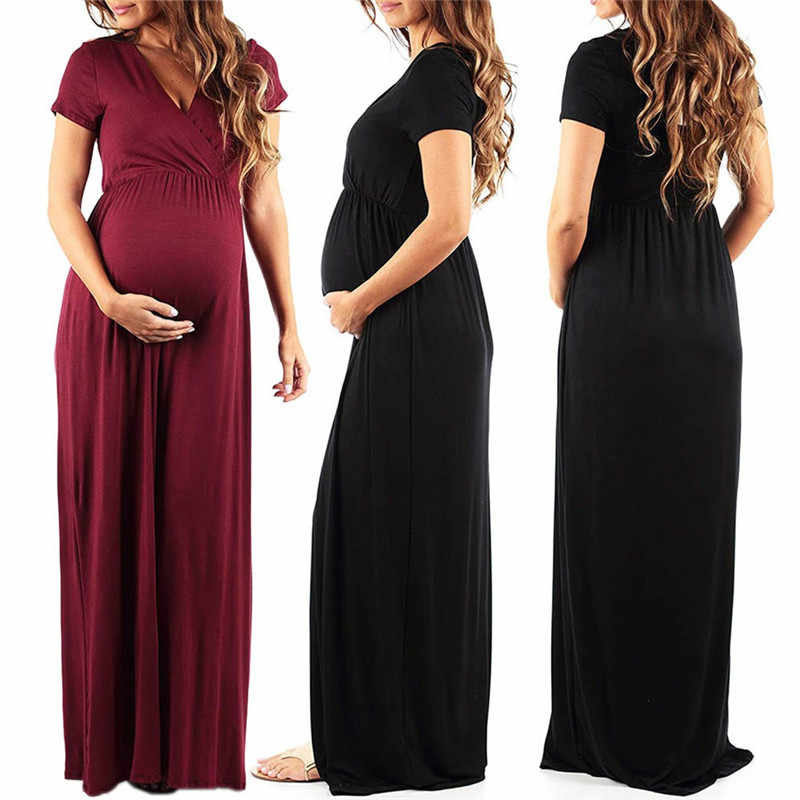 e177beeff7515 Womens Dresses Summer Long Pregnant Nursing Pregnancy Dress Solid Maternity  photography Clothing Hollow Out Party dresses