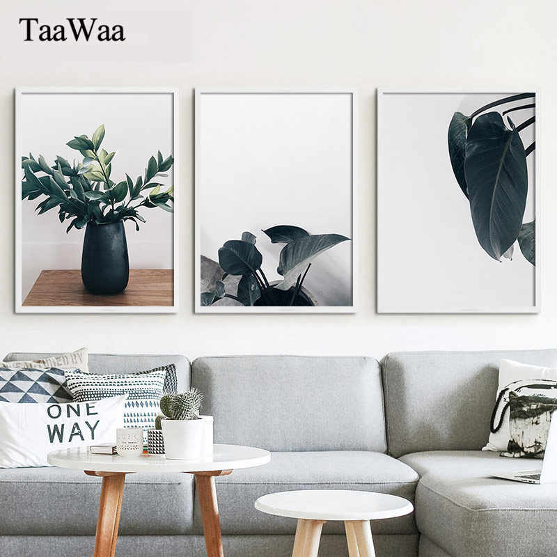 TAAWAA Nordic Green Plants Retro Canvas Poster and Print Vintage Wall Art Picture For Living Room Decoration Home Decor