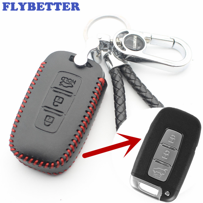FLYBETTER Genuine Leather 3Button Smart Key Case Cover For Kia K5/Sportage R/Sorento/Forte Car Styling (B) L2181