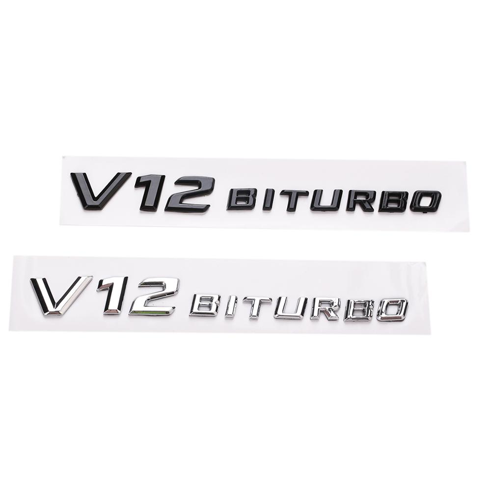 Yawlooc 3D ABS Car Sticker V12 BITURBO Logo Emblem Badge Rear Side Car-styling Sticker For Benz AMG BMW VW Mazda Chevrolet