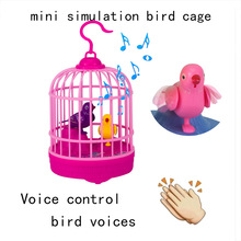 New Sound Control Mini Bird Cage Toy Novelty Induction Toy Sound Control Arrangement Simulated Bird Cage for kids
