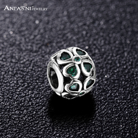 ANFASNI Fashion 925 Sterling Silver Four Heart Charms Bead Fit Bracelet Necklace Dark Green Cubic Zirconia