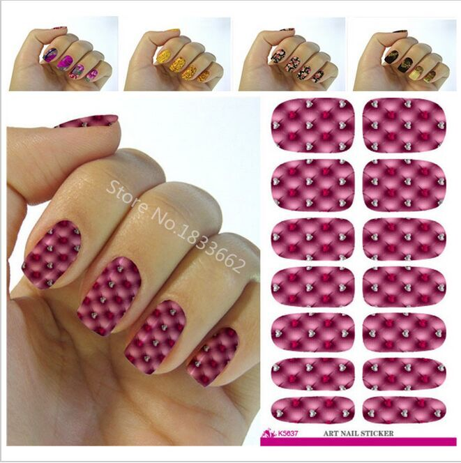 2017 Sale Fashion Nail Foil Lovely Rhinestone Design Water Transfer Art Stickers Decals Manicure Decoration Purple Plaid Tools