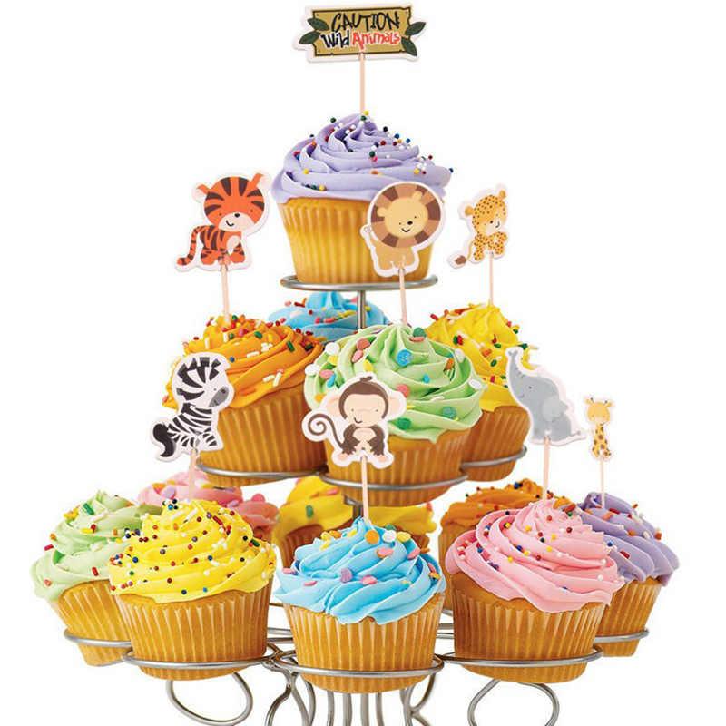 24pcs Party Safari สัตว์ป่า Cupcake Toppers วันเกิดตกแต่งเด็กทารกฝักบัวอาบน้ำเด็กโปรดปราน Cupcake Toppers Picks