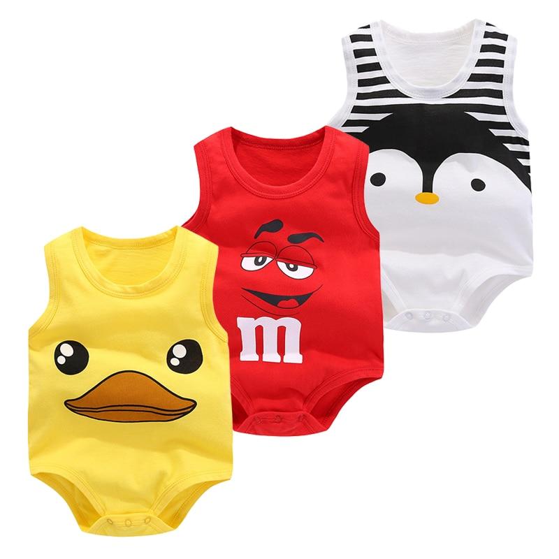 Bébé sac pet été pur coton gilet vêtements bébé garçon sans manches dessin animé body 2019 nouveaux vêtements nouveau-né fille escalade pyjama