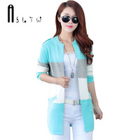 2016 Spring And Autumn New Long Knit Cardigan Women Korean Spell Color Stripe O Neck Slim