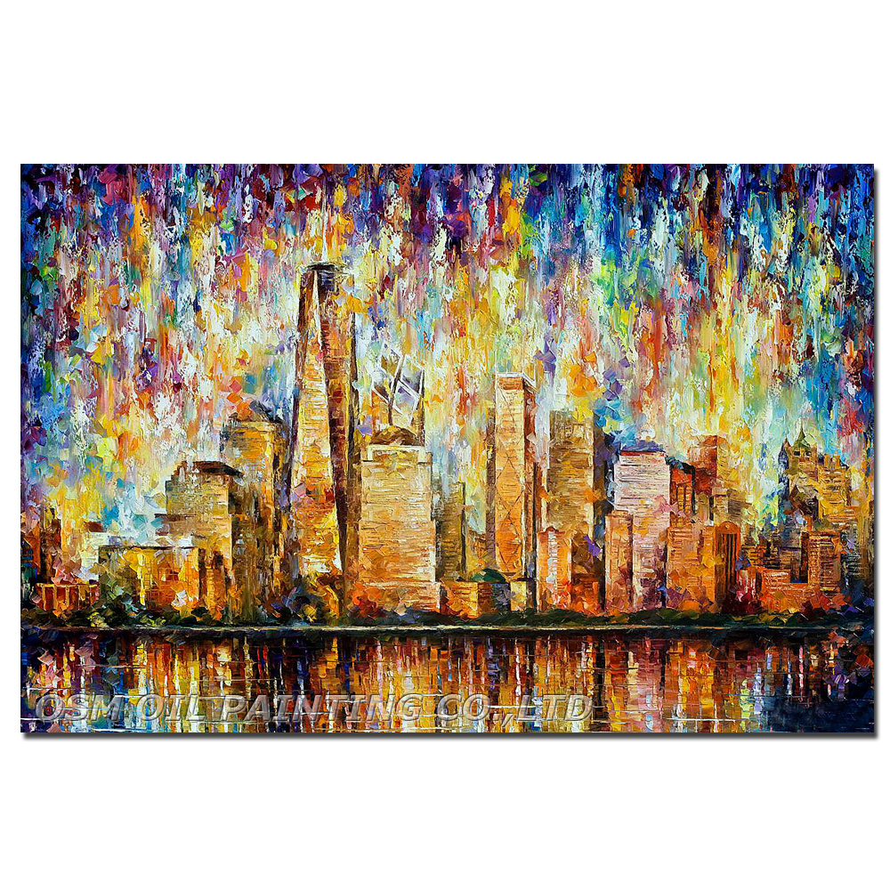 New York City Modern Canvas Painting Print Picture Home: Hand Painted NEW YORK CITY Oil Painting On Canvas PALETTE