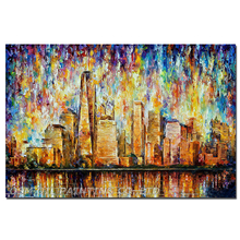 Фотография Hand Painted NEW YORK CITY Oil Painting on Canvas PALETTE KNIFE Painting Wall Picture for Living Room Decor Street Landscape