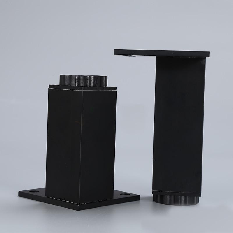 10cm high Black furniture feet Adjustable square shape cabinet leg foot support pad Aluminium alloy 4pcs