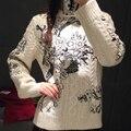 2017 Top Moda Otoño Invierno Suéteres Runway Lujo Manga Larga Bordado de La Flor Del Estilo Chino Caliente Mujer Suéteres jerseys