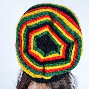 Chapéus & bonés de malha de esqui de gorro de malha de gorro de inverno de moda nova moda inverno hip hop hat bob marley jamaicano rasta reggae