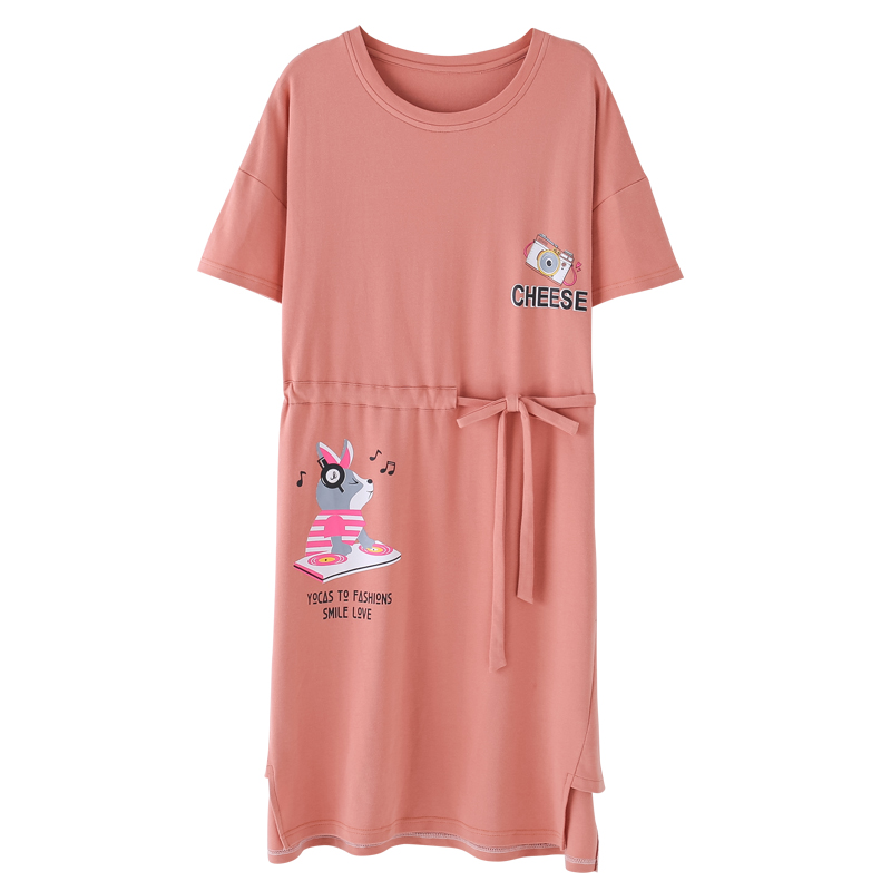Can be worn outside   nightgowns   &   sleepshirts   for young girls cartoon animal lovely dress female big yards home wear M-XXL