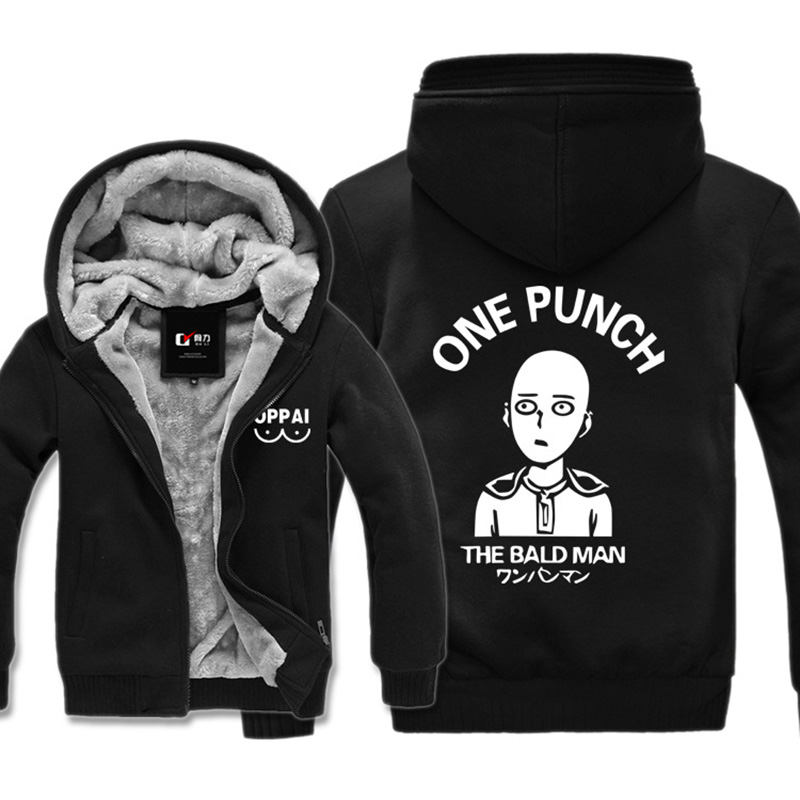 One Punch Man Thick Jacket Men Women Hoodie Sweatshirt The Bald Man Anime Oppai Funny Cartoon