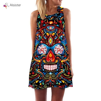 Summer Women Dress Sleeveless Skull Print O-Neck Muti-style Mini Beach Dress Bbove Knee Retro Dresses 1