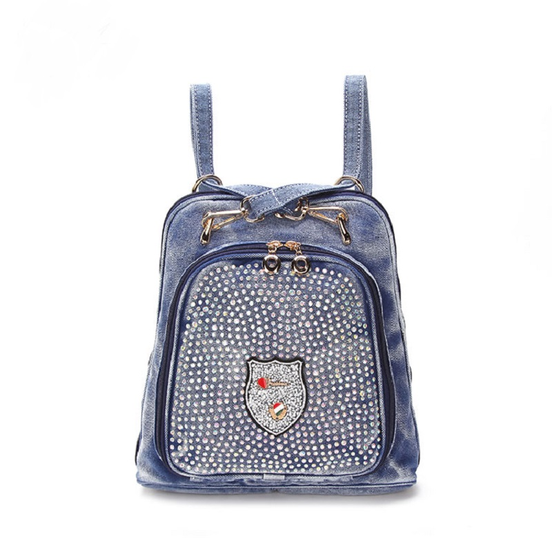 New Vintage Casual Preppy Style Appliques Diamond Denim Small Backpack School Bags Jeans Women Daypacks CrossBody