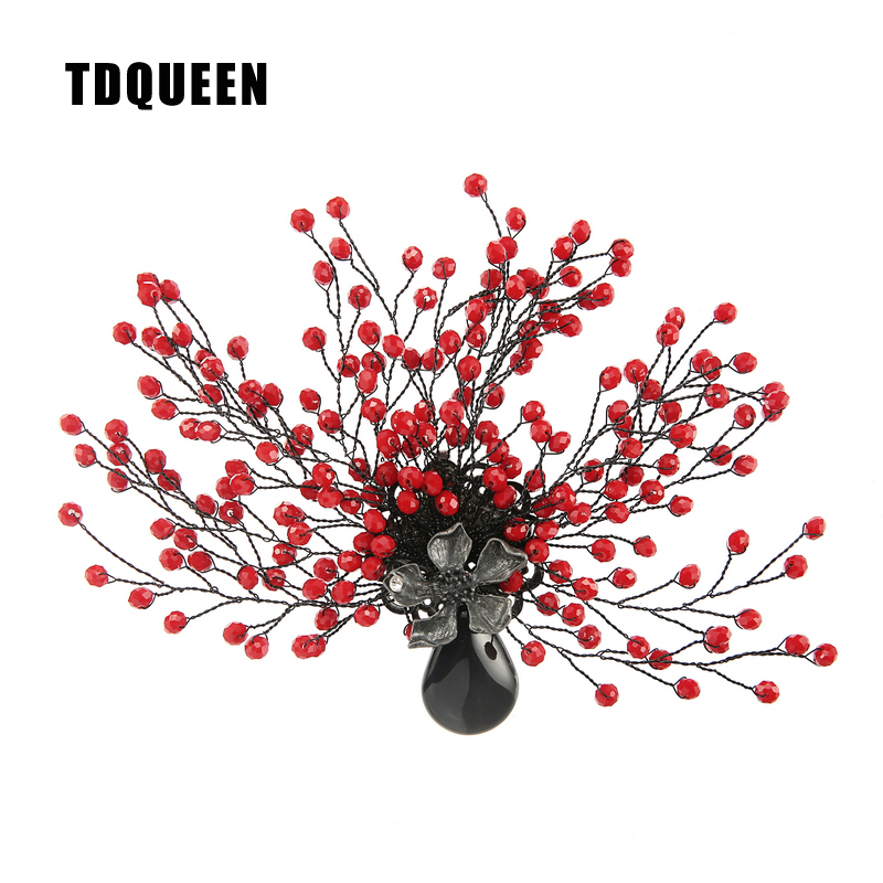 TDQUEEN Brooches Antique Silver Plated Red Bead Women Broches Natural Stone Pin Jewelry Tree Flower Brooch for Christmas Gift ethnic antique silver color leaf brooches pin