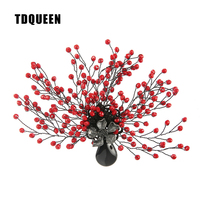 TDQUEEN Brooches Antique Silver Plated Red Bead Women Broches Natural Stone Pin Jewelry Tree Flower Brooch