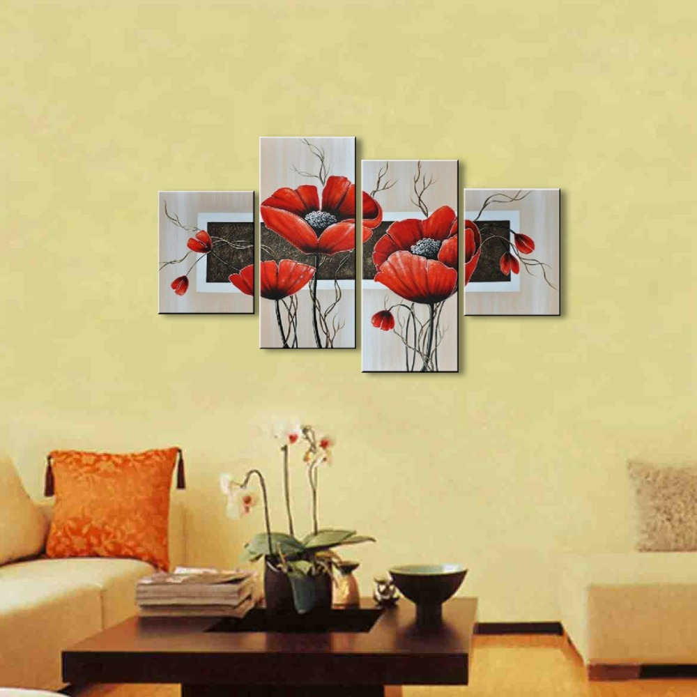 oil painting hand painted paing on canvas Modern Wall oil red flower ...