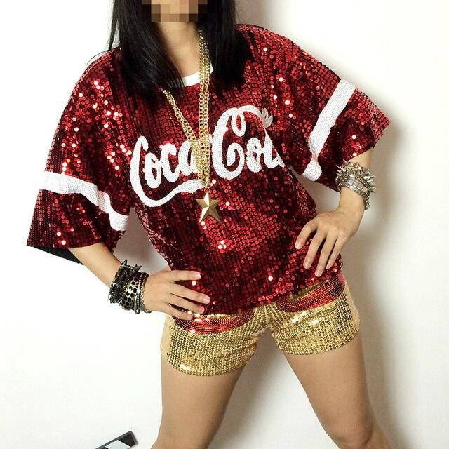 black green red silver Ds paillette ballroom dance tops hip hop costume top dance top jazz shirts