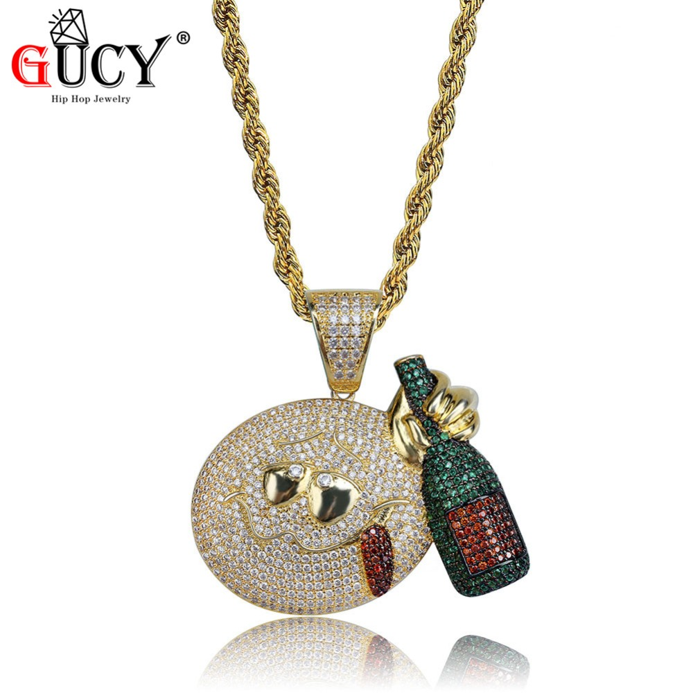 GUCY Hip Hop Drunk Emoji With Wine Bottle Pendant Necklace All Iced Out Micro Pave Cubic Zircon Gold Silver Plated Men's Jewelry