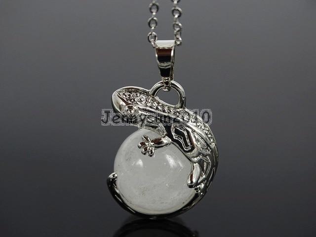 Natural Clear Quartz Gems Stone Round Ball Chakra Healing Lizard Pendant  Necklace Beads Healing Jewelry Design b993da8ddbec
