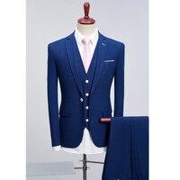 2018 Для мужчин синий Блейзер Костюмы (куртка + брюки + жилет) одноцветное Slim Fit Мужской Бизнес официальная вечеринка костюм брендовая одежда Р