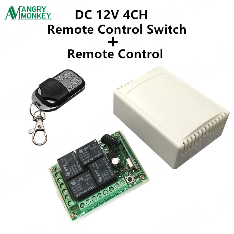 433Mhz Universal Wireless Remote Control Switch DC12V 4CH relay Receiver Module and RF Transmitter 433 Mhz Remote Controls wireless pager system 433 92mhz wireless restaurant table buzzer with monitor and watch receiver 3 display 42 call button