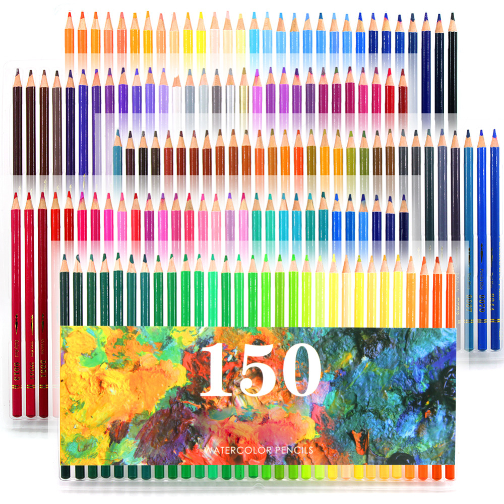 150 Colors Soft Wood Watercolor Pencils Water Soluble Colour Pencils Set For Lapis De Cor Painting Sketch Drawing School Art 24 36 colors watercolor pencils lapis de cor professional lapis escolar school paint water soluble color hydrotropic carton
