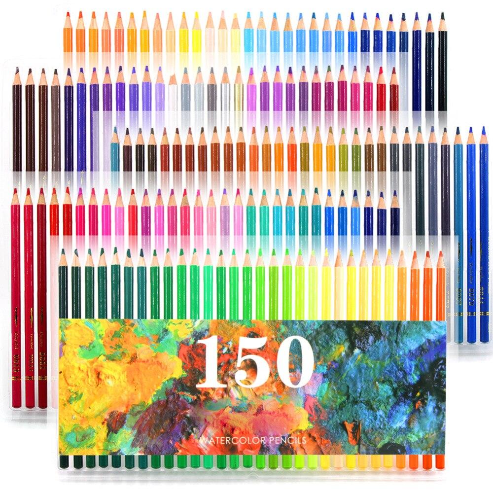 150 couleurs en bois doux aquarelle crayons hydrosoluble couleur crayons ensemble pour Lapis De Cor peinture croquis dessin école Art