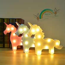 Kids Table Lamps Cute Unicorn LED Lamp Bedroom Christmas Decoration Kids Baby Creative Birthday Gifts Night Lamp Desk Decor(China)