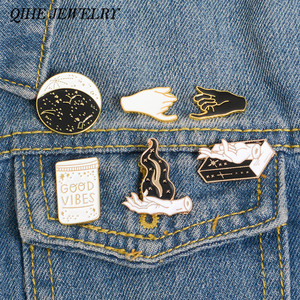 QIHE JEWELRY Witch hand Pins collection Constellation Moon Shadows Witchcraft Books Flame Brooches Witchy Jewelry