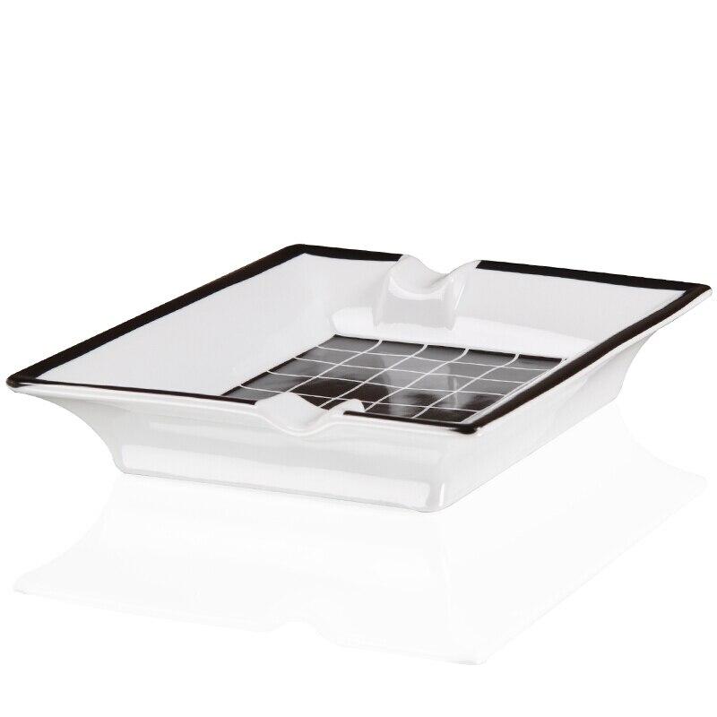 مربع السيراميك السيجار منفضة سجائر أسود أبيض اللون 2 تقع التدخين أداة الخزف كبيرة السيجار طفاية سجائر cenicero aschenbecher portatil-في مطافئ السّجائر من المنزل والحديقة على  مجموعة 3
