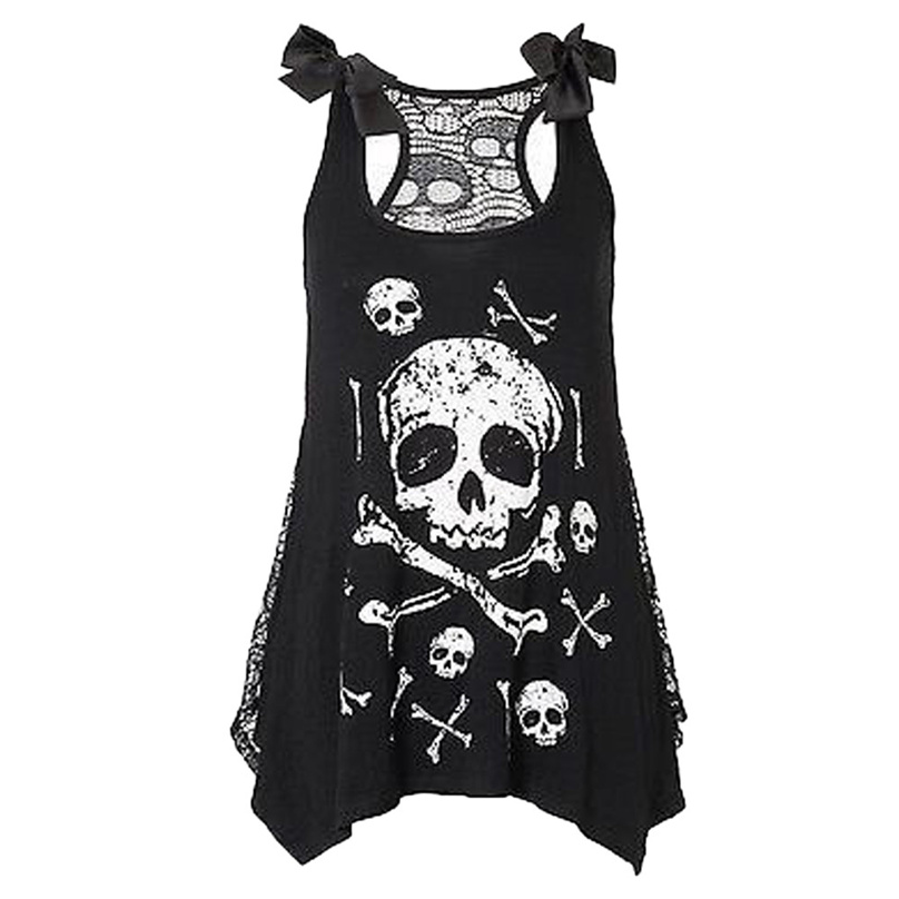 Tank tops t-shirt 2017 Women Fashion Skull Print Loose Lace Patchwork Bandages Casual Sleeveless Tops S-XXL Size KOL37 MAR30