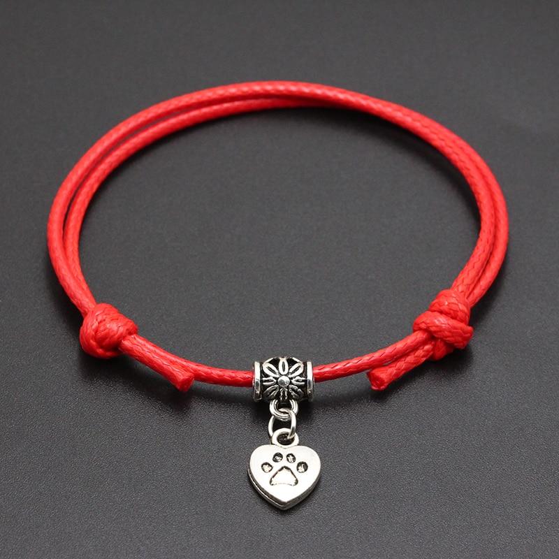 2020 New Dog Paw Heart Pendant Red Thread String Bracelet Lucky Black Coffee Handmade Rope Bracelet for Women Men Jewelry