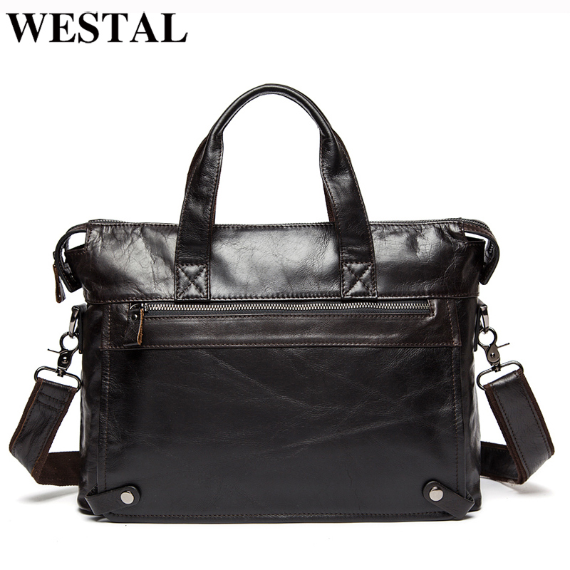 WESTAL Men Briefcases Genuine Leather Men s Bag Business Briefcases laptop Handbags Messenger Bag Men Leather