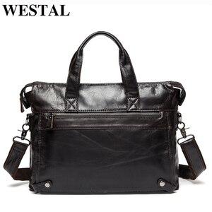 WESTAL الرجال حقائب جلد أصلي للرجال حقيبة الأعمال حقائب الكمبيوتر المحمول حقائب حقيبة ساعي بريد للرجال جلدية حقيبة مكتب 9013