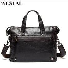 WESTAL Мужские портфели из натуральной кожи мужская сумка деловые портфели сумки для ноутбука сумка-мессенджер мужская кожаная офисная сумка 9013