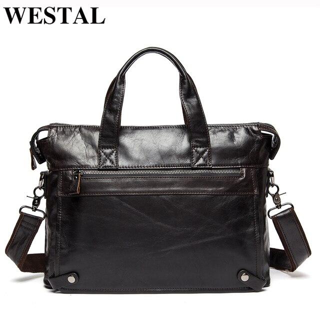 WESTAL Mens Briefcases Office Bag for Men Mens Bags Genuine Leather Briefcase Men Laptop Bag Leather Lawyer/Messenger Bags 910