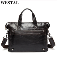 WESTAL Men Briefcases Genuine Leather Men's Bag Business Briefcases laptop Handbags Messenger Bag Men Leather Office Bag 9013